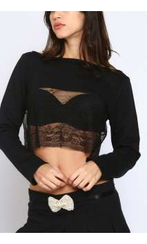 Top crop dentelle