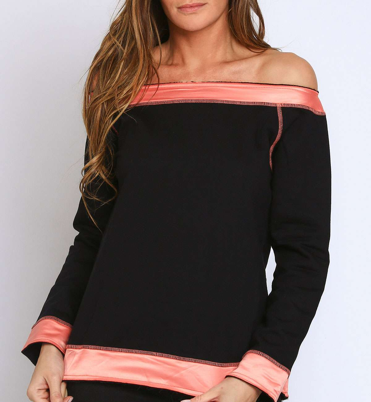 Sweat bicolore bardot