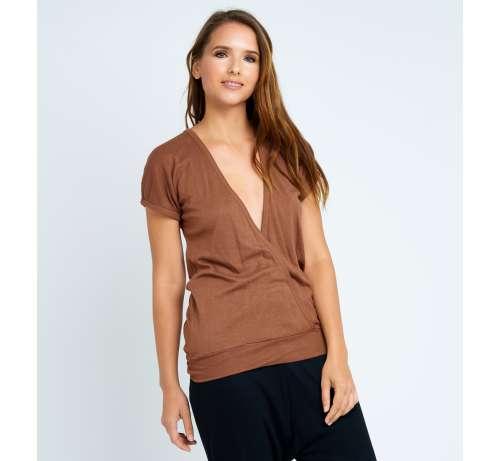 T-shirt long bambou manche courte col décolleté croisé