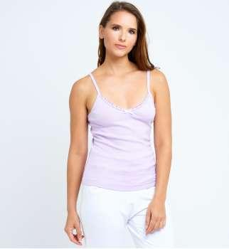 Caraco bretelles coton lilas
