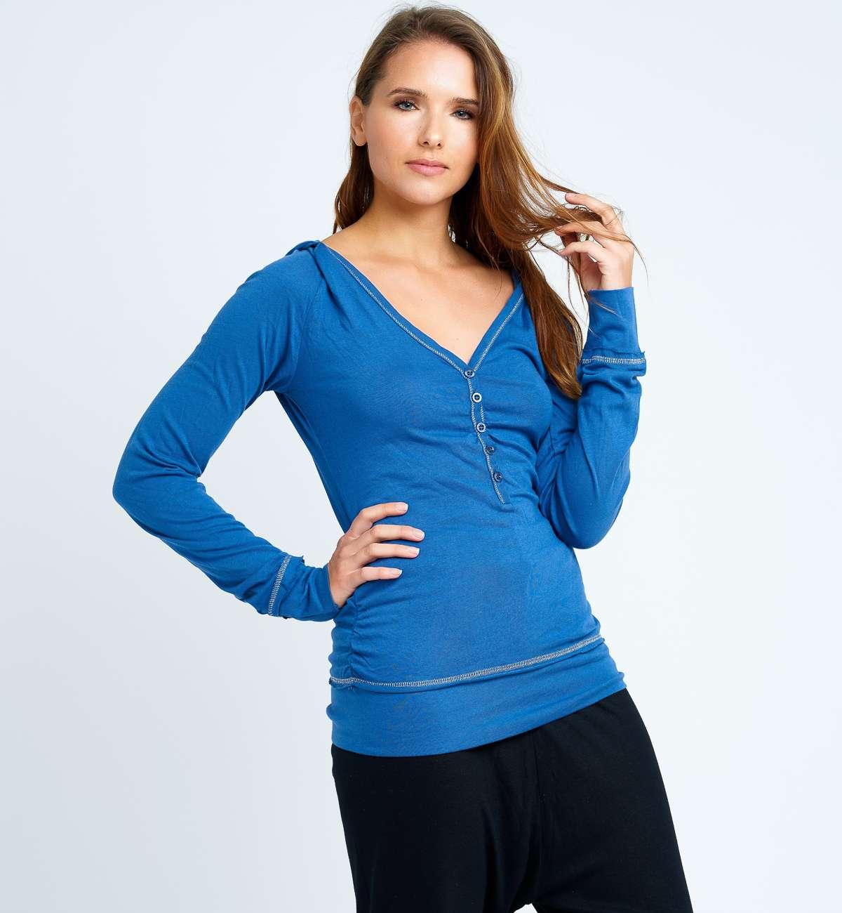 T-Shirt Coton M-L col V lurex
