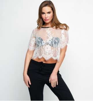 Top Crop Transparent Dentelle