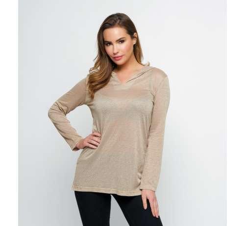 blouse col V capuche
