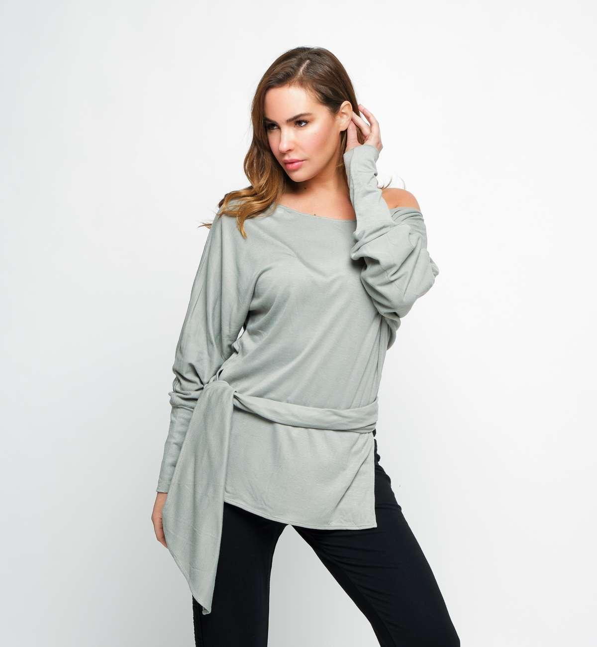 T-shirt Bambou ML épaule nue Kaki clair