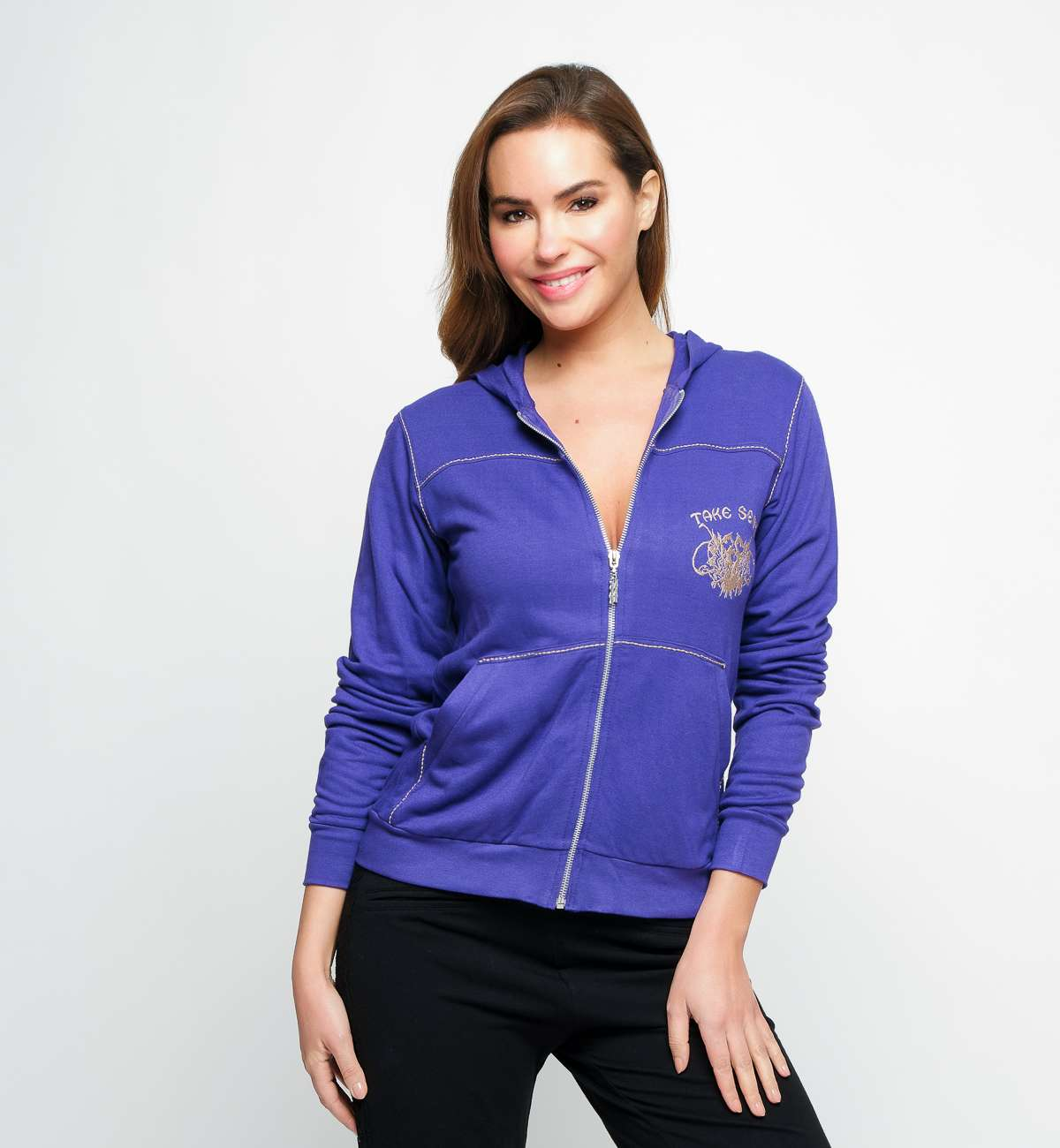 Gilet Capuche Bambou Broderie Coeur