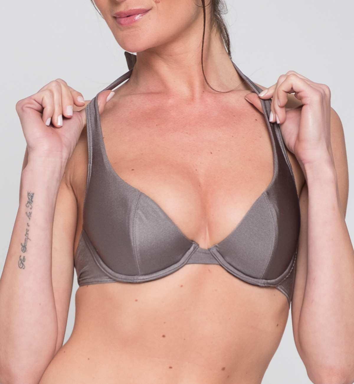 Push up maillot de bain gris